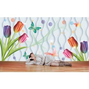 Fleurs de pépinière papiers peints photo appliqué sur le mur