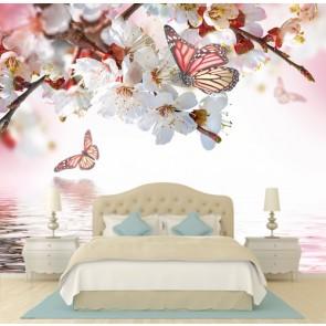 Fleur et papillon papiers peints photo 3D appliqué sur le mur