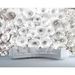 roses blanches papier peint appliqué sur le mur