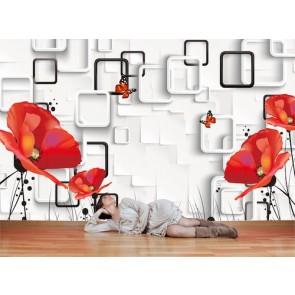 Pavot et à quatre côtés tapisserie appliqué sur le mur
