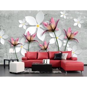 Fleurs en béton papiers peints photo appliqué sur le mur