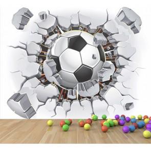 Le football vole à travers le mur tapisserie murale appliqué sur le mur
