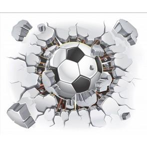Le Football Vole À Travers Le Mur
