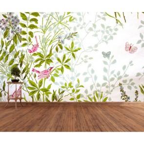 Oiseaux et papillons papiers peints photo 3D appliqué sur le mur