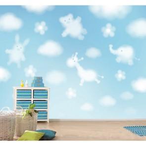 Doux nuages papier peint 3d appliqué sur le mur
