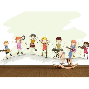 Orchestre d'enfants papier peint 3d appliqué sur le mur