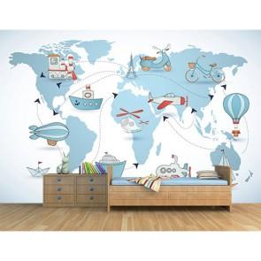 Visite en montgolfière dans la chambre des enfants tapisserie murale appliqué sur le mur
