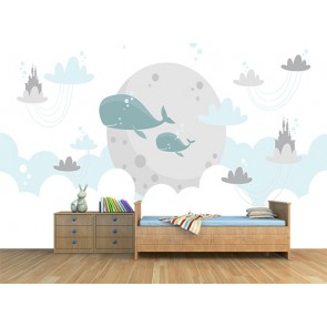 Terre des baleines decoration murale appliqué sur le mur