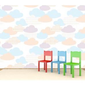 Nuages colorés tapisserie appliqué sur le mur
