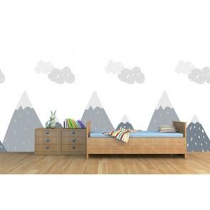 Collines nuageuses tapisserie murale appliqué sur le mur