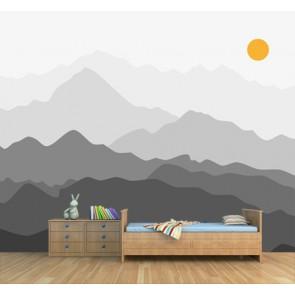Derrière les collines papier peint 3d appliqué sur le mur