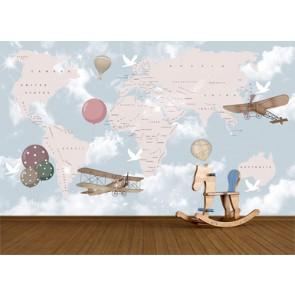 Monde et ballons papiers peints photo 3D appliqué sur le mur