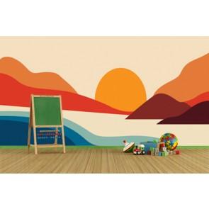 Grandes couleurs papier peint appliqué sur le mur