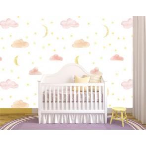 Dessin de nuage et lune decoration murale appliqué sur le mur