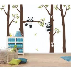 Panda dans la forêt tapisserie murale appliqué sur le mur