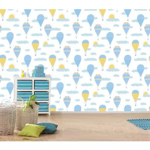 Ballons bleus dans le ciel papier peint 3d appliqué sur le mur