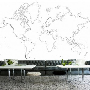 Carte du monde dessin au fusain tapisserie murale