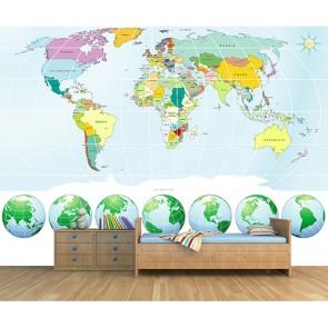 Le monde sous tous les angles tapisserie appliqué sur le mur
