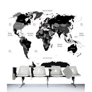 Le monde en noir et blanc papiers peints photo appliqué sur le mur