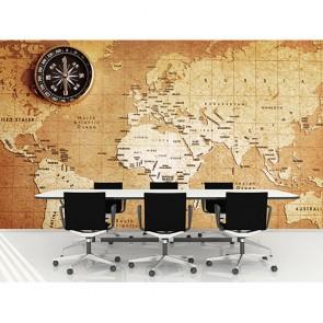 Carte du monde sur papier vintage tapisserie murale appliqué sur le mur