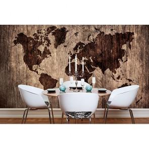 Carte du monde en bois papier peint 3d appliqué sur le mur