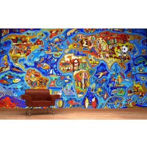 Carte du monde Graffiti tapisserie appliqué sur le mur
