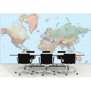 Carte du monde dans les tons sombres decoration murale appliqué sur le mur