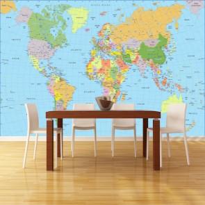 Carte du monde turc papiers peints photo 3D appliqué sur le mur