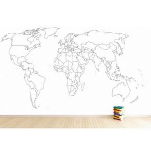 Carte du monde amovible decoration murale appliqué sur le mur