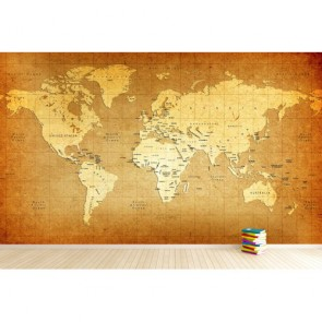Carte du monde sur le matériel vieillissant papier peint 3d appliqué sur le mur