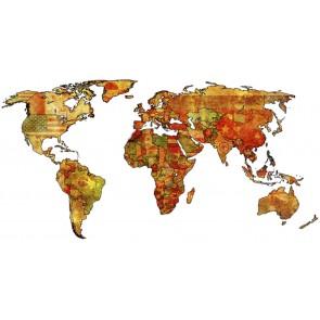 Carte Du Monde Décorative De Drapeaux