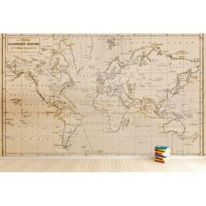 Carte du monde 1844 papier peint appliqué sur le mur