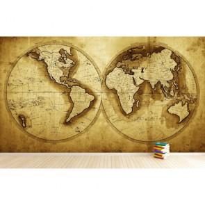 1711 carte du monde tapisserie appliqué sur le mur