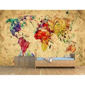 Monde comme œuvre d'art tapisserie murale appliqué sur le mur