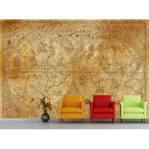 Vieux monde bidimensionnel papier peint 3d appliqué sur le mur