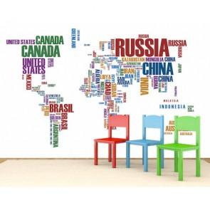 Carte du monde avec des lettres papier peint 3d appliqué sur le mur