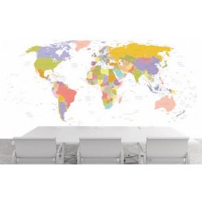 Carte du monde avec des villes papiers peints photo 3D appliqué sur le mur