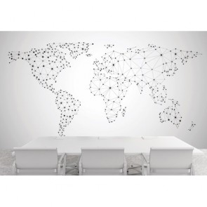 Carte du monde du réseau mondial tapisserie appliqué sur le mur