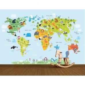 Carte du monde des animaux decoration murale appliqué sur le mur