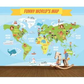 Carte du monde drôle tapisserie murale appliqué sur le mur