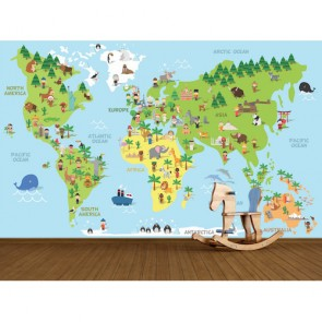 Monde selon différentes cultures papiers peints photo 3D appliqué sur le mur