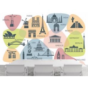 Carte du tourisme mondial papier peint appliqué sur le mur