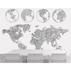Le monde tourne decoration murale appliqué sur le mur