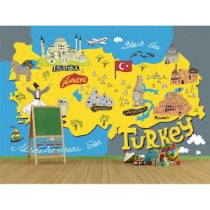 Carte turque avec symboles papiers peints photo appliqué sur le mur