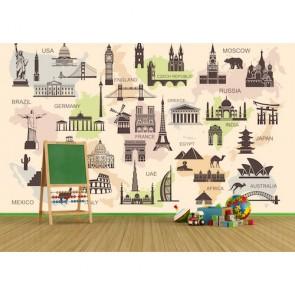 Symboles architecturaux du monde tapisserie appliqué sur le mur