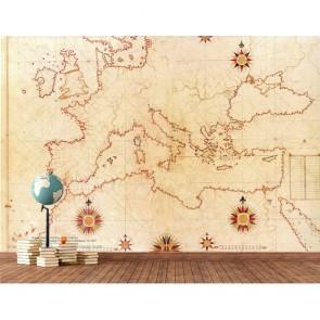Carte européenne du 16ème siècle tapisserie murale appliqué sur le mur