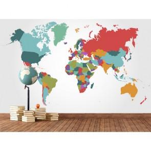 Carte du monde en couleurs decoration murale appliqué sur le mur
