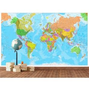Carte du monde pour la décoration tapisserie murale appliqué sur le mur