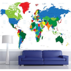 Carte du monde pour les bureaux tapisserie appliqué sur le mur