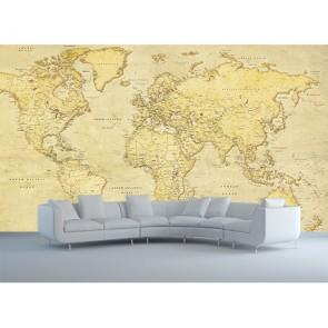 Carte du monde antique papiers peints photo 3D appliqué sur le mur